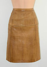 "Brown Real Leather High Waist Straight Pencil Knee Length Skirt Size W27"" L20"""