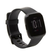 Fitbit Versa Smartwatch, Black/Black Aluminium, White Band Bundle