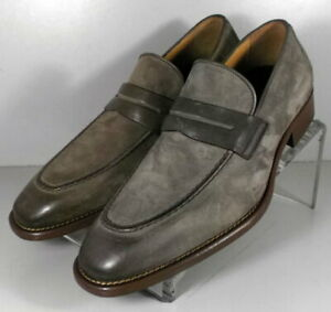 242059 DFi60 Men's Shoes Size 8.5 M Gray Leather Made in Italy Johnston Murphy