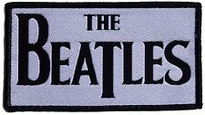 Beatles DropT logo (black border) shaped sew-on cloth patch (black on white)