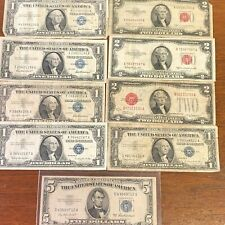 Vintage Red Seal & Silver Certificate Us Paper Money 9 pcs Collection $1 $2 $5