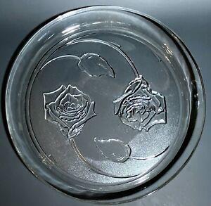 """Vintage Indiana Glass - FLORAL PLATTER, CHOP PLATE - Embossed Roses Design - 13"""""""