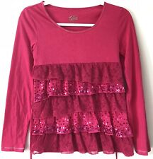 Justice Girls Hot Pink Long Sleeve Lace & Sequin Ruffles Shirt Size 12