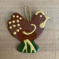 Vintage Ceramic Brown Chicken Ornament, Made in USA
