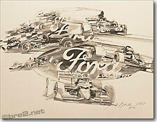 """GEORGE BARTELL art Ford Open Wheelers 22""""x17"""" pen & ink by artist George Bartell"""