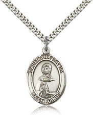 """Saint Anastasia Medal For Men - .925 Sterling Silver Necklace On 24"""" Chain - ..."""