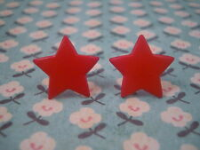 Funky Red Star Earrings Cute Kitsch Retro 60s 70s 80s Vintage Goth Punk Rock Emo