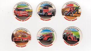 Coca cola Motor Racing Pogs - Trucks, Speedway, Motor bikes cars. Full set of 6