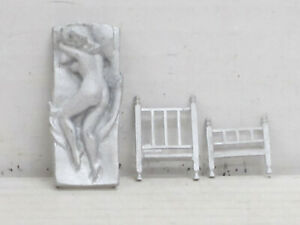 nackte Frau im Bett, Zinnfigur Nr. 4, unbemalt, Omen, 1:43