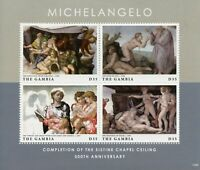 Gambia Art Stamps 2012 MNH Michelangelo Sistine Chapel Ceiling Creation 4v M/S