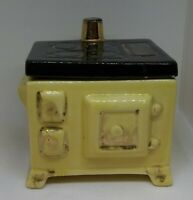 Vintage Ceramic Coffee Tea Canister - Yellow & Black Old Kitchen Stove
