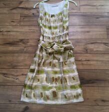 Nougat London size 2 sleeveless fit & flare dress 100% silk Avocado Shape