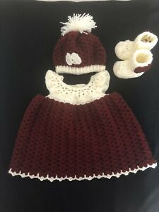 Handmade Crocheted 0-6 Months Baby Girl  Dress,pompom Hat and Booties