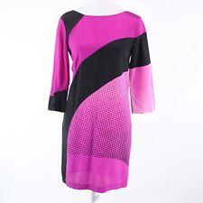 Bright pink black color block DIANE VON FURSTENBURG shift dress 2 NWT $445.00