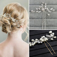 Wedding Hair Pins Comb Flower Clips Accessory Bridesmaid Pearls Silver Gold TA01