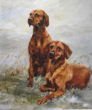 More details for sale hungarian vizsla signed dog print by susan harper unmounted