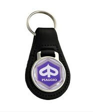 Purple Piaggio Quality Black Leather Keyring