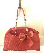 Betsey Johnson Be My Wonderful Dome Satchel Coral Pink Orange Bag Bow Heart GUC