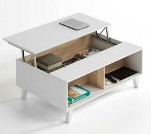 Mesa de centro elevable blanca y roble estilo nordico de salon comedor 100x56 cm