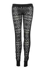 SASS & BIDE SEXY BLACK LACE & SEQUIN SIDE PANELS ELASTICATED LEGGINGS