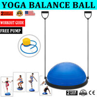 "New 23"" Yoga Half Ball Balance Trainer Fitness Strength Exercise Gym w/Pump Blue"