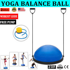 65cm Yoga Ball Balance Seat Trainer Fitness Strength Exercise With Base Green