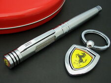 OFFICIAL FERRARI MARANELLO RACING ROLLER PEN w/ KEY RING SET (SILVER)