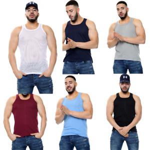1X/3X/6X mens vest mesh airtex light summer 100% cotton gym tank top vest S-2XL