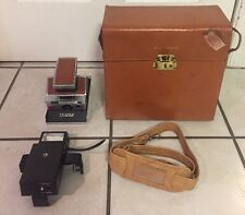 Vintage 1970's POLAROID SX-70 Instant SLR Land Camera Leather Nissin Fsx Flash