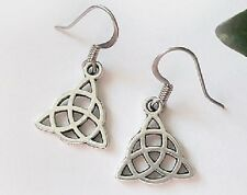 CELTIC KNOT Earrings DRUID PAGAN WICCA NEW ANTIQUE SILVER Surgical steel hoops