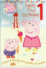 Official PEPPA PIG - 1st BIRTHDAY CARD With Peppa Badge, Age 1