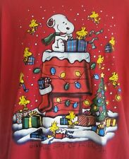 Peanuts Shirt Red Snoopy Woodstock Xmas Tree Lights Gifts Friendship Candy Cane