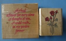 rubber stamp lot 2 -flower sentiment roses stamp oasis all night media