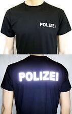 POLIZEI T-Shirt in schwarz / Text in silberreflex, Größe S/46 bis 4XL/58