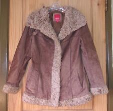 Esprit Brown Leather Shearling Coat, Womens S