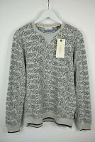 RRP €89 SCOTCH & SODA BLAUW Men's LARGE Grey Crew neck Sweatshirt Jumper 7457*mm