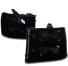 FOR 2007-2013 GMC SIERRA 1500 2500 3500 HD DENALI BLACK/SMOKE CRYSTAL HEADLIGHT