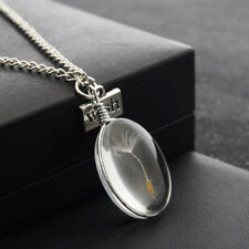 Halskette 3D Oval Glücksbringer Löwenzahn Pusteblume Set Kette + Anhänger Glück