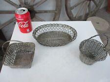 Vintage Lot Three Beautiful Handmade Woven Wire Silverplate Mesh Basket