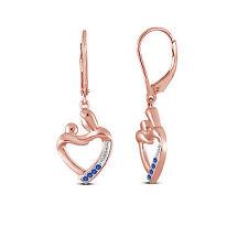 14k Rose Gold On 925 Sterling Blue Sapphire Mother & Child Dangle Earrings Gift