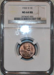 NGC MS-64 RB 1922-D Lincoln Cent, Lustrous, Red-Brown specimen.
