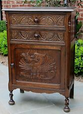 Antique English Carved Oak Gothic Barley Twist Cabinet Nightstand Chest Table