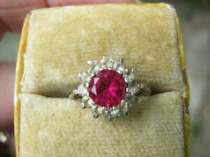 vintage silver ruby and paste ring sz J