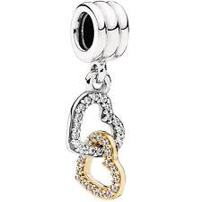 PANDORA Charm Element 792068 CZ Herzen Silber Gold Bead