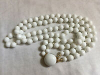 VINTAGE 1960s MILK GLASS DOUBLE STRAND NECKLACE Beaded Clasp