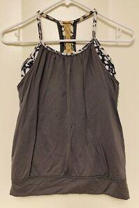 Ivivva by LuluLemon Girls size 12 Layered Tank Top Gray over print, shelf bra