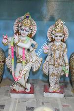 """36"""" Marble Radha Krishna Murti Hand Painted Art Religious Gift Home Decor H5759B"""