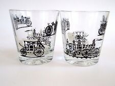 MID-CENTURY 60's Libbey Whiskey Set of 2 DOF Glasses Train  Bicycle Barware