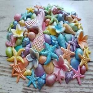 67 edible sugar fondant sugar shells starfish mermaid tail fin cake topper