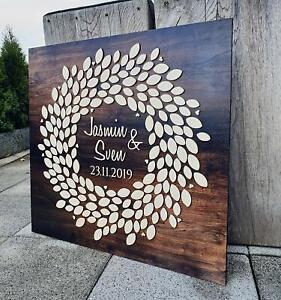 Personalisiertes 3D Gästebuch aus echtem Holz - Kranz - Hochzeit individuell